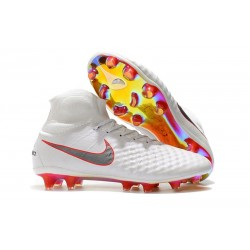 Nike Magista Obra II FG Men Soccer Boots White Grey Red