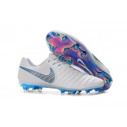 New Nike Tiempo Legend VII FG Kangaroo Boots - White Blue