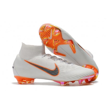 d5fd13daabe Nike Mercurial Superfly 6 Elite FG Soccer Cleats White Gray Orange