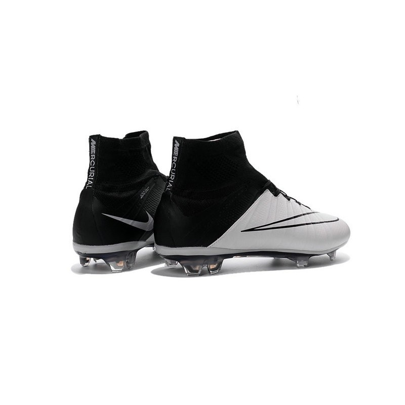 nike mercurial superfly fg new men football cleats leather white black