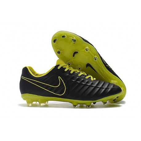New Nike Tiempo Legend VII FG Kangaroo Boots - Black Yellow