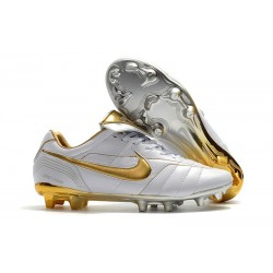 Nike Tiempo Legend 7 R10 Elite FG New Soccer Cleats - White Golden