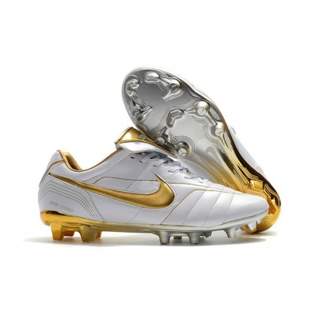 Nike Tiempo Legend 7 R10 Elite FG New Soccer Cleats - White Golden