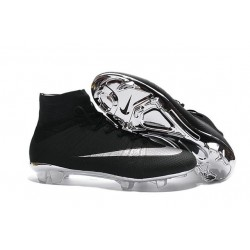Nike Mercurial Superfly FG New Men Football Cleats Black Silver
