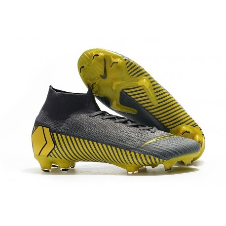 Nike Mercurial Superfly VI 360 Elite FG Cleat - Grey Black Gold
