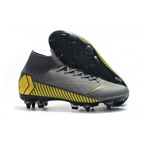 Nike Mercurial Superfly 6 Elite SG Anti-Clog Cleats Grey Yellow