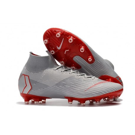 Nike Mercurial Superfly 6 Elite AG-Pro Soccer Cleats Grey Red