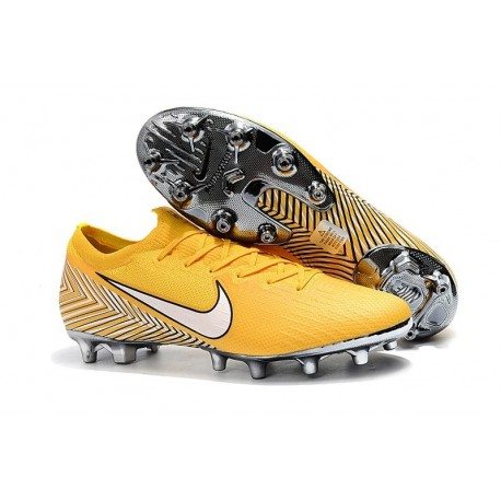 Nike Mercurial Vapor 12 Elite AG-PRO Cleats - Neymar Yellow White
