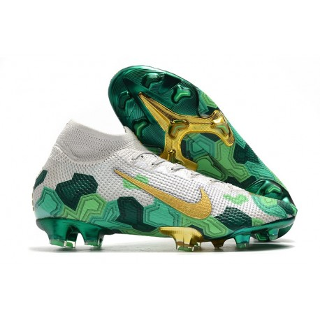 Nike Mercurial Superfly VII Elite FG x Mbappé Vast Grey Gold Electro Green