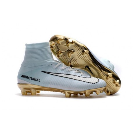 Top 2016 Nike Mercurial Superfly FG Soccer Shoes White Gold