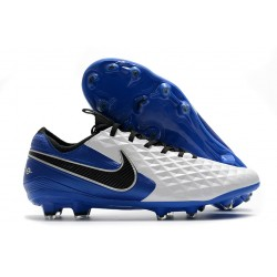 Nike Tiempo Legend 8 FG Kangaroo Leather - White Royal Blue Black