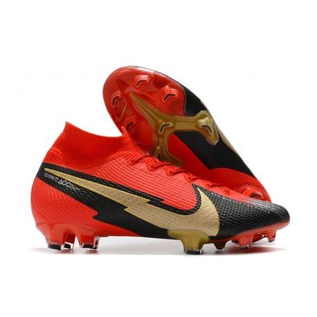 Top Nike Mercurial Superfly 7 Elite DF FG Red Black Golden